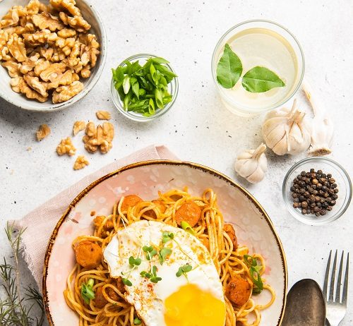 Homestyle Spaghetti With California Walnuts, Sausage And Egg