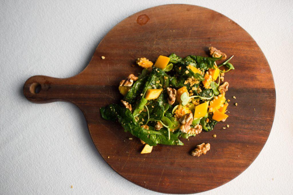 California Walnut Mango Spinach Salad