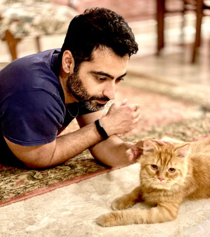 Harshad Arora with his pet cat
