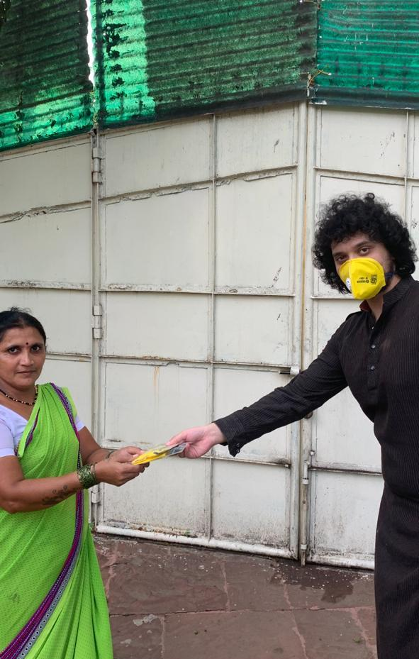 Namashi Chakraborty distributing Mask