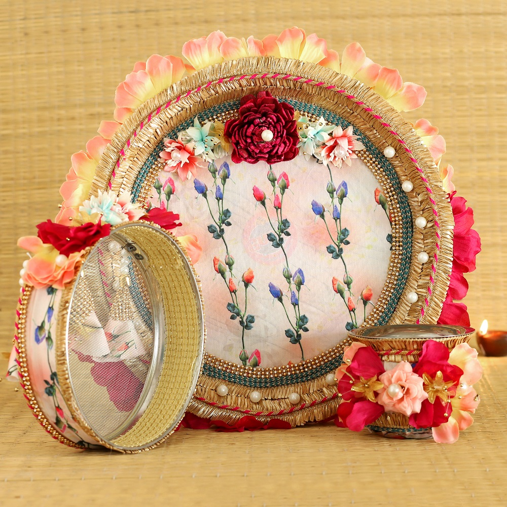 Floral Pink Pooja Thali