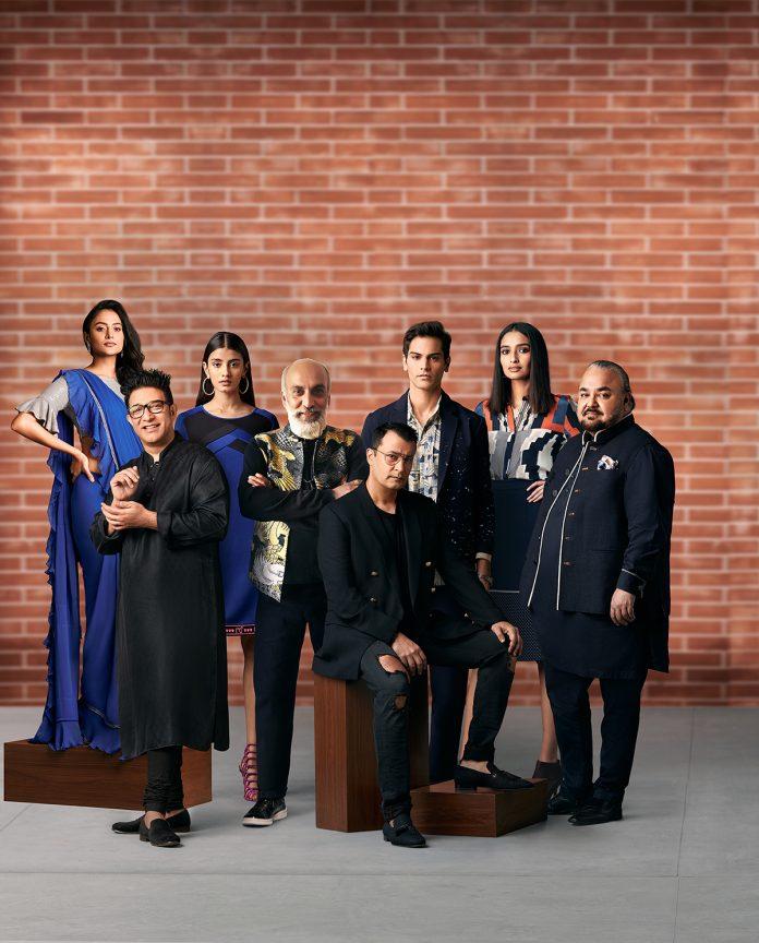 (L-R) Fashion designers Suneet Varma, Manish Arora, Ashish N. Soni and JJ Valaya