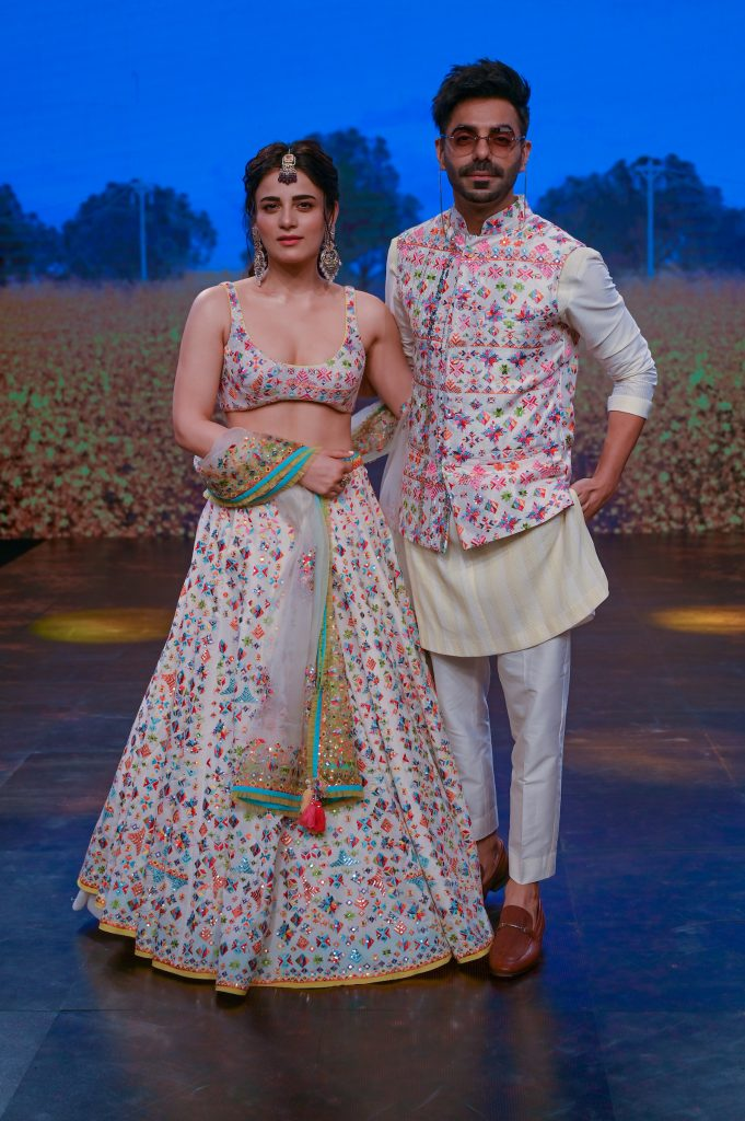Bollywood Actors Aparshakti Khurana and Radhika Madan Poses for designer Sukriti Akriti's Collection at The Lakme Fashion Week Fluid Edition 2020 at St. Regis in Mumbai, India on 24th October 2020.  Photo :Vaqaas Mansuri / FS Images / Lakme Fashion Week / IMG Reliance