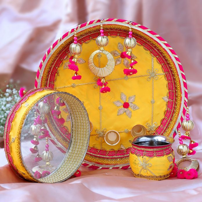 Thread Embroidery Yellow Thali Set