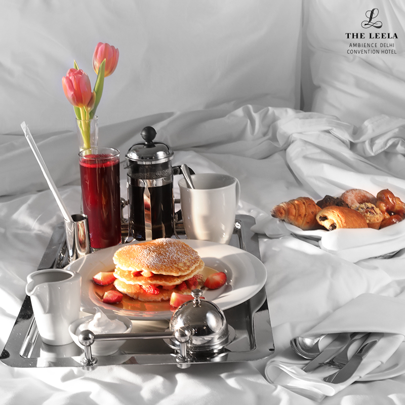 Breakfast in bed at The Leela Ambience Convention Hotel