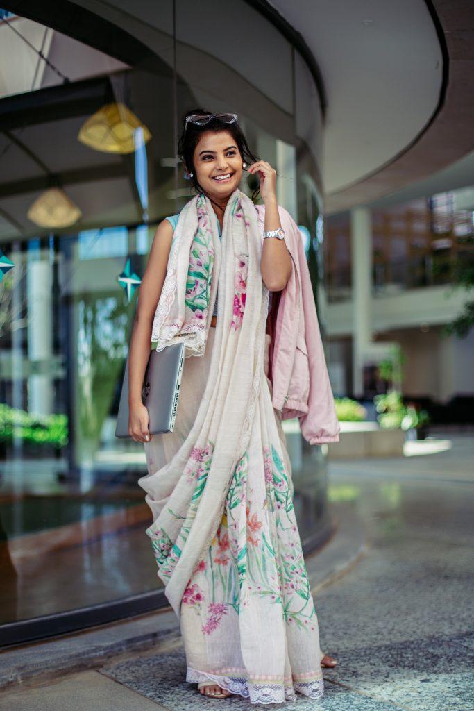 Taneira's Florelle collection - Silk linen saree with floral digital pri...