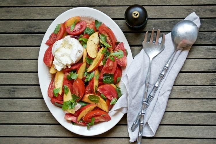 Burrata citrus greens, Roma tomato and strawberry salad
