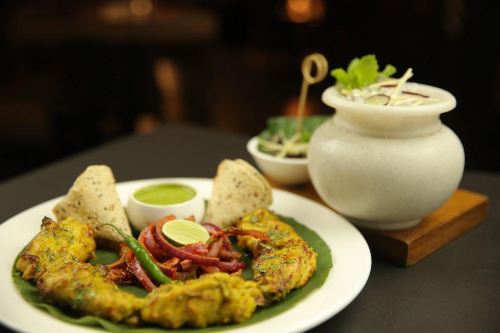 Chaurasia julep with bhindibazar chicken tikka