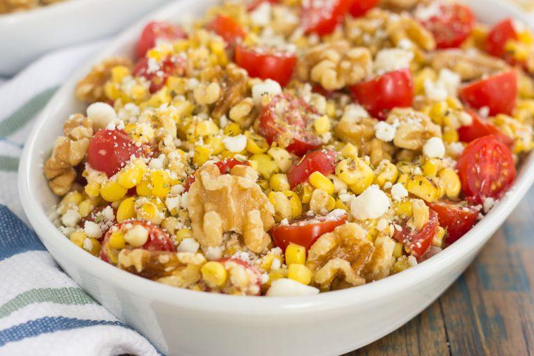 Grilled Garlic Herb Corn with Tomatoes and Walnut